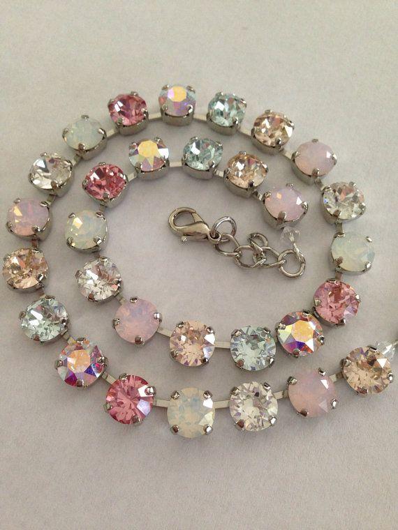 Swarovski crystal necklace - opals pinks blues -