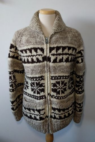 Vintage Handmade Cowichan Lined Sweater 100% Wool Mens L Native American