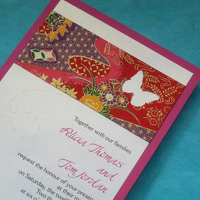 Japanese Butterfly Handmade Wedding Invitation   Japanese ...