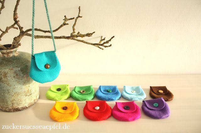 ♥ Zuckersüße Äpfel ♥: Kleine bunte Taschen aus Filz selber nähen