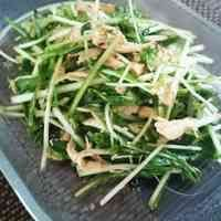 水菜とささみのさっぱり梅ごまサラダ