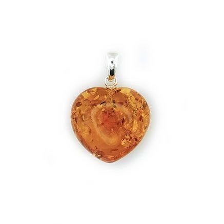 Amber Heart Pendant from Amber Zone silver jewellery