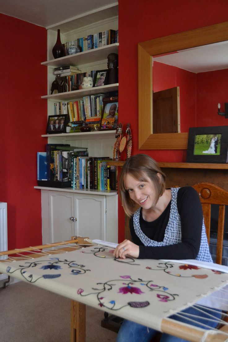 Elizabeth Tapper of The Art of the Needle. Working on the seasonal crewelwork cushions to match the lampshades.