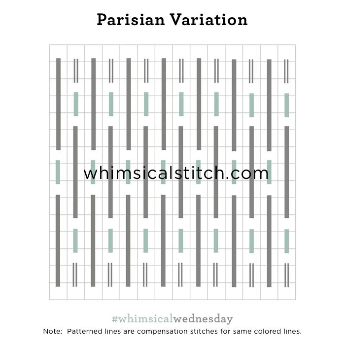 Parisian Variation from February 14, 2018 whimsicalstitch.com/whimsicalwednesdays blog post.
