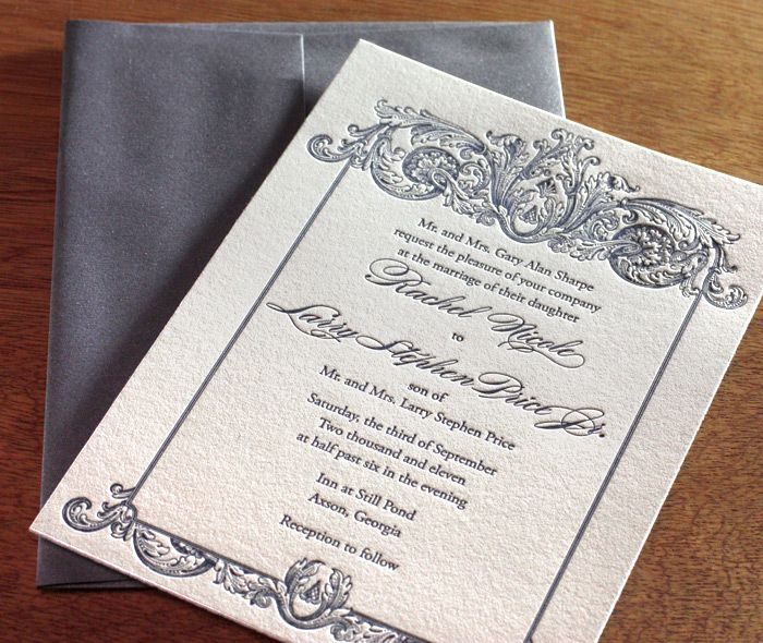 Guests Are Sure To Admire The Intricate Details Within This Beautiful  Letterpress Wedding Invitation Design.