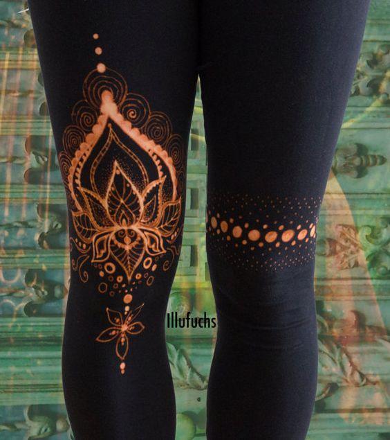 bleached Yoga/Goa Leggings Lotus von DerIllufuchs auf Etsy