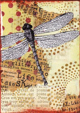 Stunning Dragonfly Mixed Media Collage ATC by KittyNL at Cloth Paper Scissors.