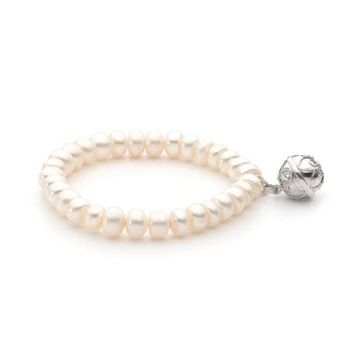Harmony Ball Bracelet - PEARL 8mm - Bella Donna Sterling Silver