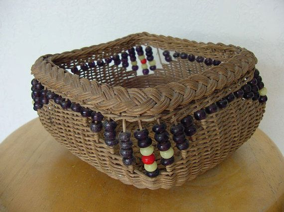 Vintage Woven Basket with Bead Decoration c.1930 by chalcroft, $22.00