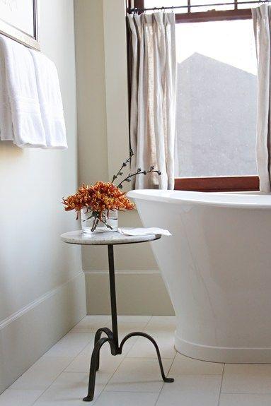 Yvonne McFadden - Interior Designer - Atlanta - Coastal - Rustic - Beach - Transitional - Bathroom - White - Fresh - Table - Tub - Plants - Towel Rack - Tiled Floors - Fresh - Simple