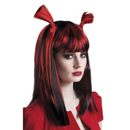 Vampier pruik rood voor dames. Rood met zwarte vampier pruik met 2 leuke staartjes bovenop.