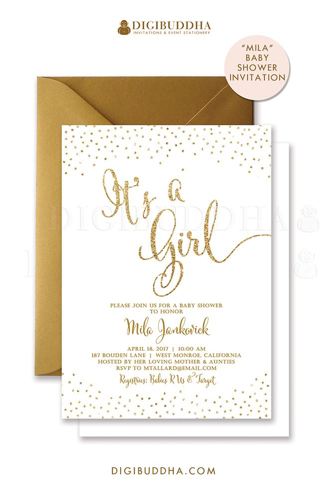 White and gold glitter sparkle baby shower invitations for a baby girl shower. Gold glitter lettering, either in ready made printed cards with envelopes or choose printable baby shower invitations instead. Gold shimmer envelopes also available, at digibuddha.com