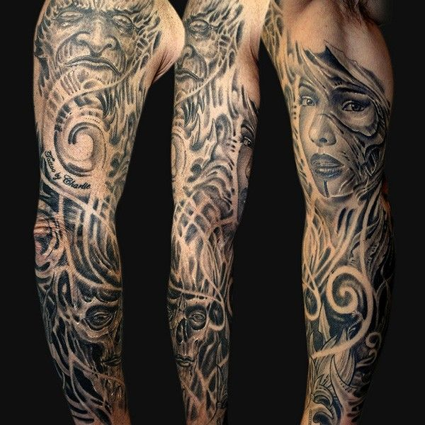 Tattoo half sleeve ideas black and grey http www for Cost of a half sleeve tattoo