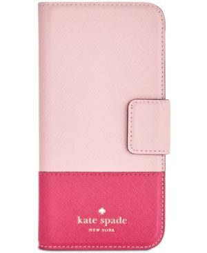 kate spade new york Leather Wrap iPhone 7 Folio Case - Pink