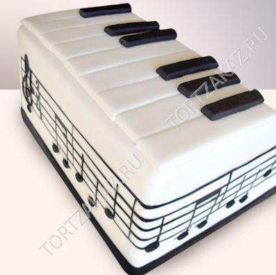 """Праздничный подарочный торт """"Клавиши пианино и ноты"""" арт. P0128"""