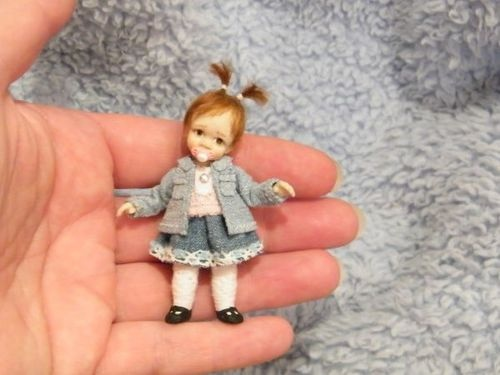 Miniature Handmade Mini Baby Girl Toddler OOAK Sculpt Art Doll Artist Dollshouse