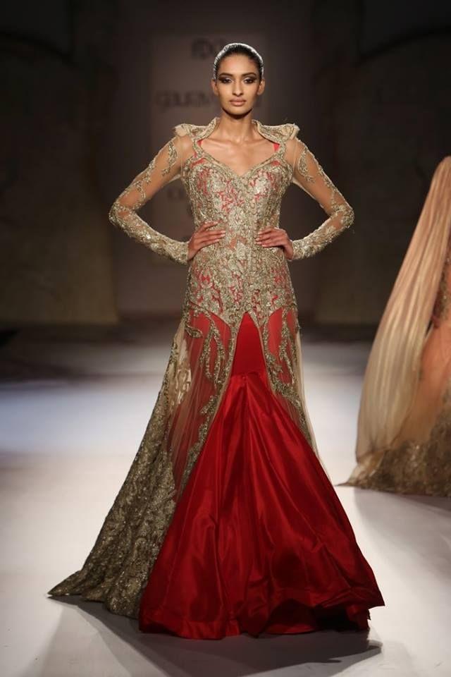 ~ Living a Beautiful Life ~ Gaurav Gupta at India Couture Week 2014 - red gold lehnga with sheer sleeves