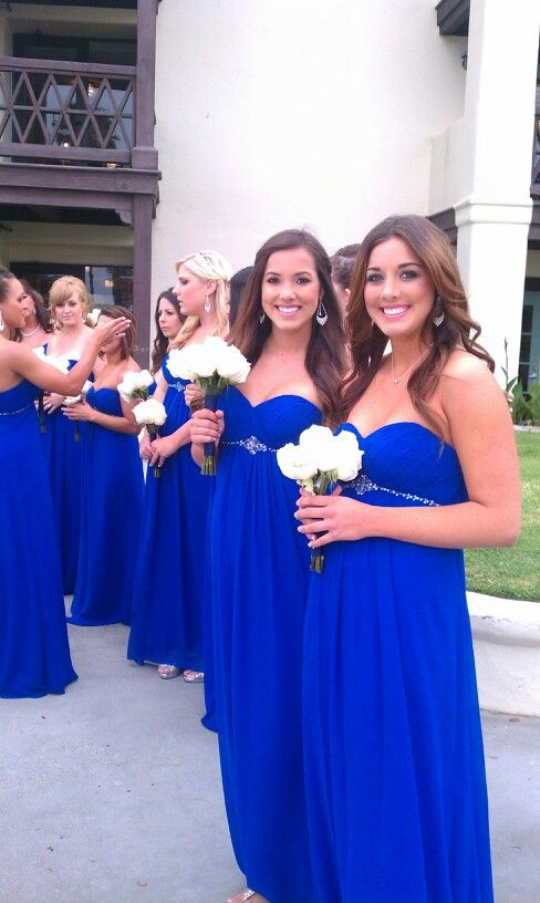 Royal blue bridesmaids- beautiful color!!                              …