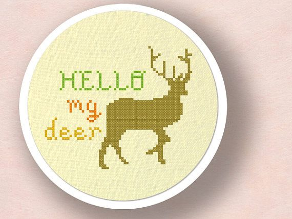 +This item is available for instant digital download*    A cute Hello my Deer counted cross-stitch pattern to personalize your belongings or adorn on