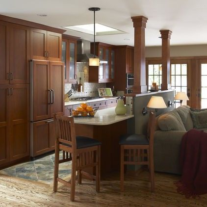 Kitchen bar wood table chair wall design fruit rural