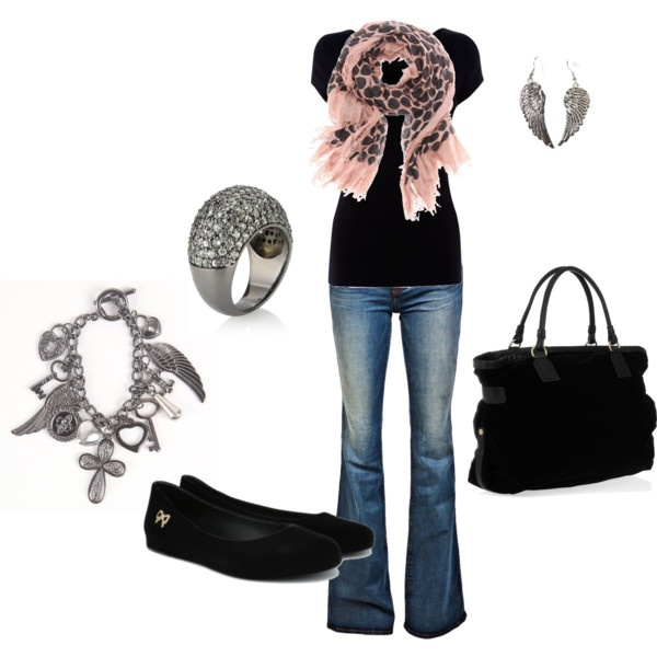 Pink accent with black :)Pink Scarf, Fashion, Casual Outfit, Style, Clothing, Jeans, Pink Scarves, Pink Black, Dreams Closets
