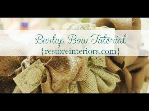 Great Burlap Bow Tutorial from Restore Interiors...