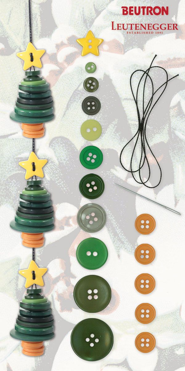 Christmas tree button ornament