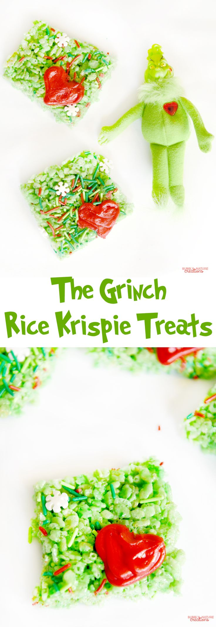 The Grinch inspired Rice Krispie Treats Cereal Bars!! So fun for Christmas. Make these and watch The Grinch!!!
