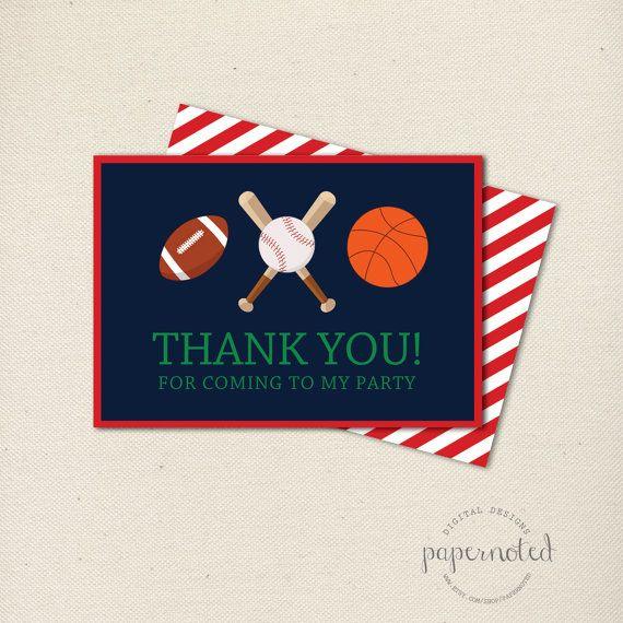 Sports Thank You Card  // Basketball Birthday // Football Brithday // Baseball Birthday // Boy Birthday Theme // Red // DIY Printables