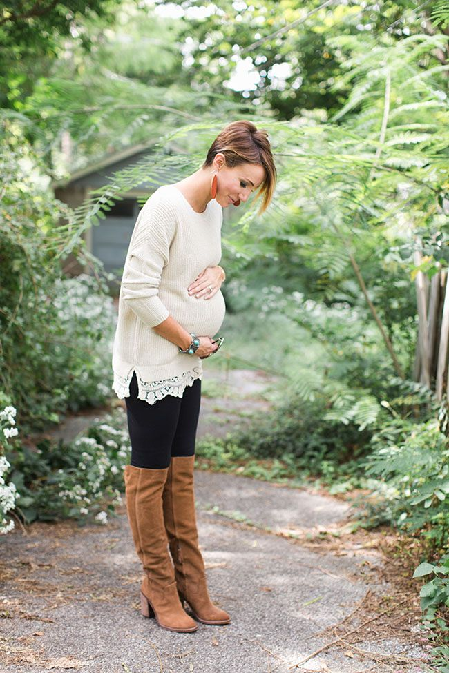 lace, leggings, maternity, over the knee boots, sweater
