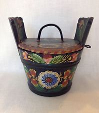 Antique Norwegian Rosemaling Os Style Tine Box1880-1930