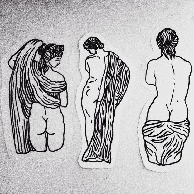 Miłych snów 🌙 #night #tattoo #ink #naked #sculpture #art #illustration #drawing  #linework #blackwork #blackandwhite #woman #greek #ass #girls #simple #nature