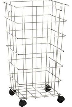 Wire Hamper with Wheels - contemporary - Hampers - Crate&Barrel