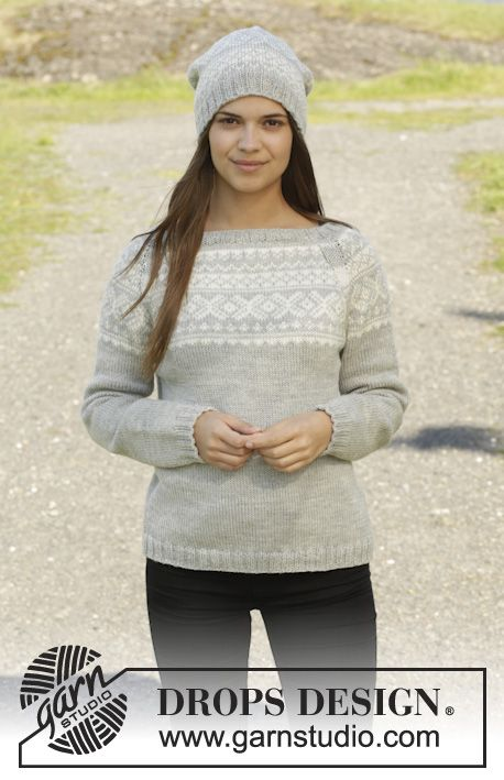 "Knitted DROPS jumper and hat with Norwegian pattern in ""Karisma"". Size: S - XXXL. ~ DROPS Design"