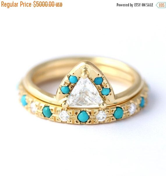 ON SALE Trillion Turquoise Engagement Ring with Turquoise Diamonds Eternity Ring - Wedding Set - 0.5 Carat Trillion Diamond - 18k Solid Gold by artemer on Etsy https://www.etsy.com/listing/254599922/on-sale-trillion-turquoise-engagement