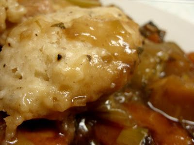 Slow-cooked chicken stew and dumplings