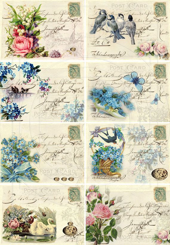 INSTANT DOWNLOAD diGiTAL CollAge SheeT Shabby Chic FORget mE NoT flORal baCKgroUnds FrENch EphEmeRa PrinNTaBLe diGitAl sCrAPbooKing, No. 46