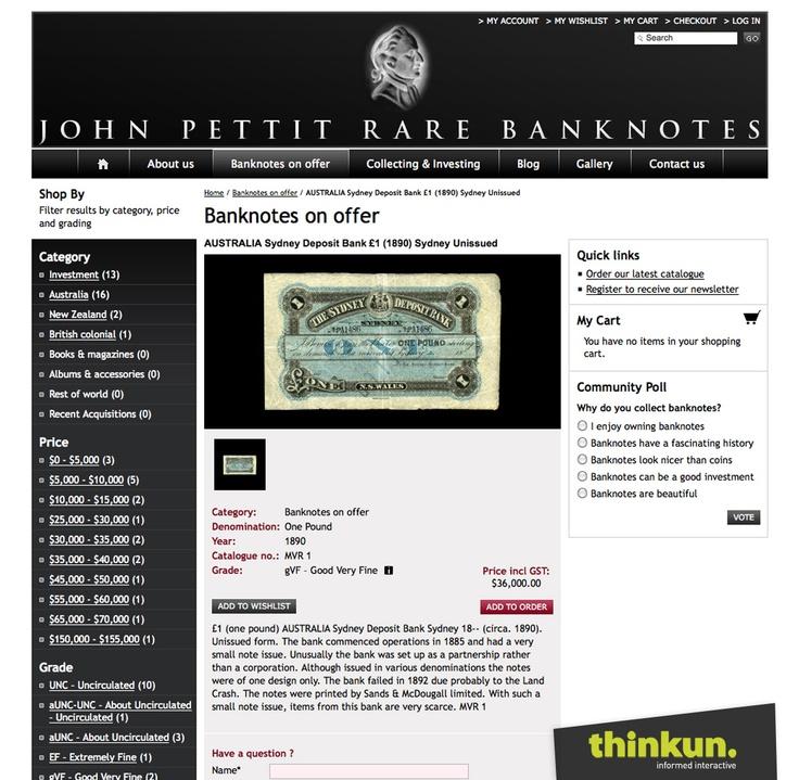 John Pettit Rare Banknotes website