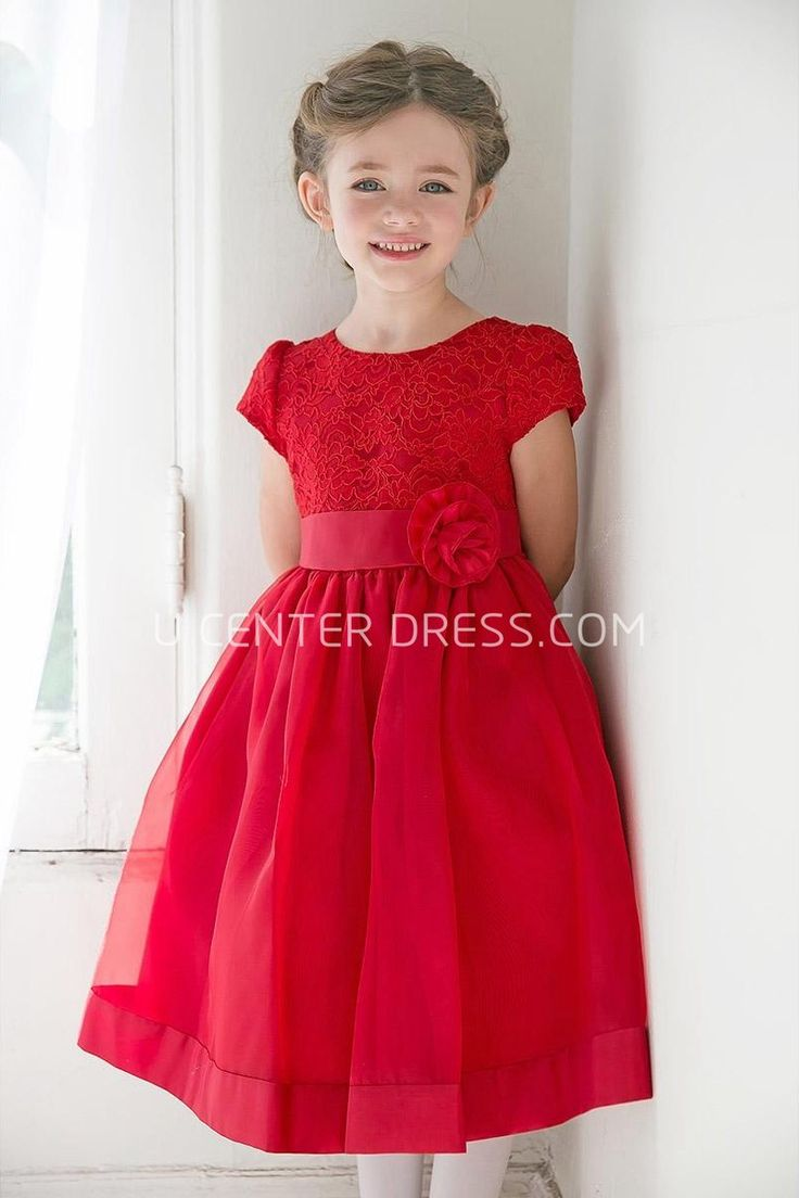 Best 25 childrens bridesmaid dresses ideas only on pinterest 4835 cute tea length floral tiered laceorganza junior bridesmaid dress with ribbon http ombrellifo Image collections
