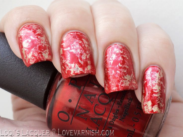 Love Varnish: Red & Gold Saran Wrap Marble