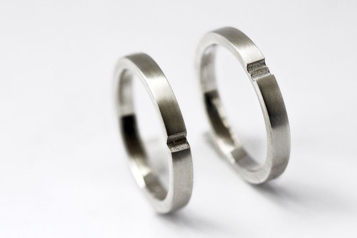 14k white gold wedding ring set for Costanza heart by CADIjewelry, $680.00