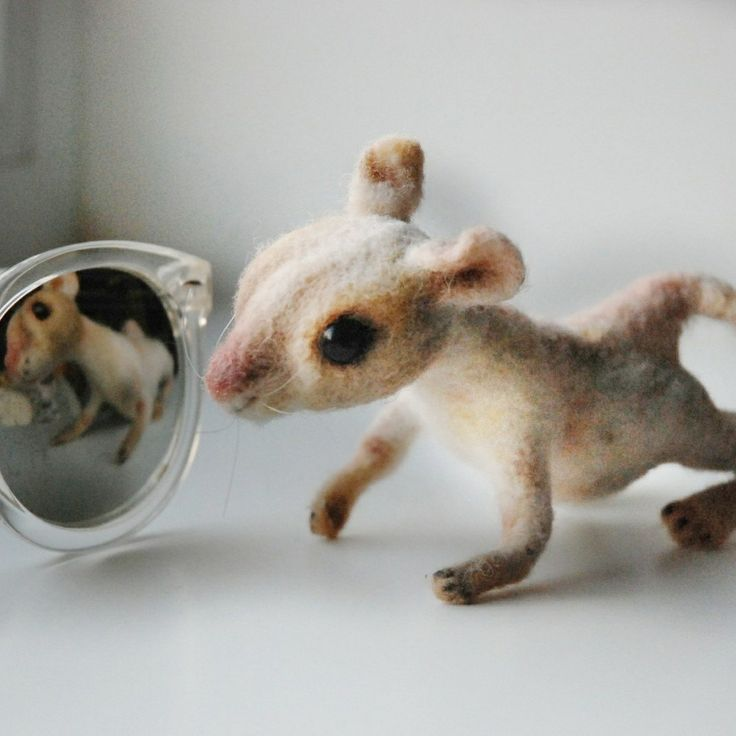 Needle Felted Realistic Knitting Granny Mouse Felted Mouse Etsy