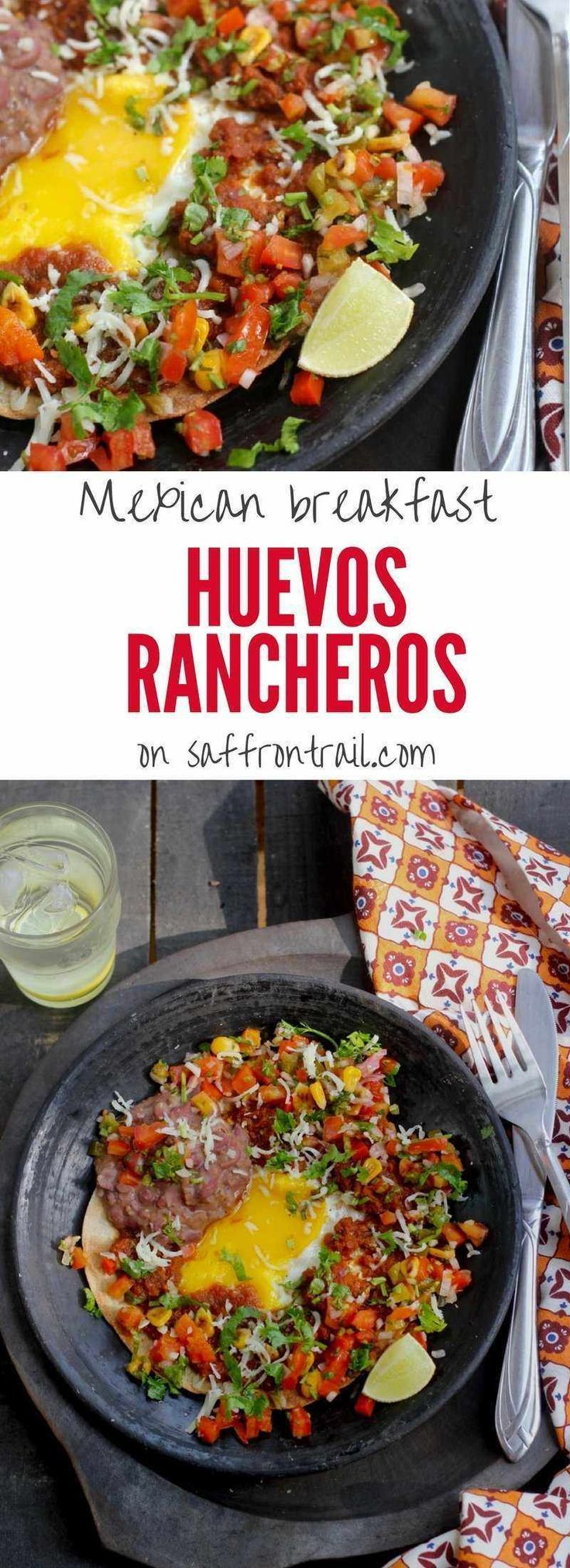 Mexican Vegetarian recipes  - Huevos Rancheros is one of the most popular Mexican breakfasts, meaning Ranch style eggs. Tortilla+refried beans+sauce+salsa+egg = The most kickass breakfast you can have.