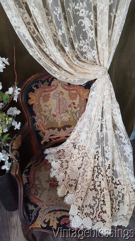 """Glorious! Victorian Antique French Lace Curtain w/Ornate Bottom LACE TRIM 87""""Long www.Vintageblessings.com"""
