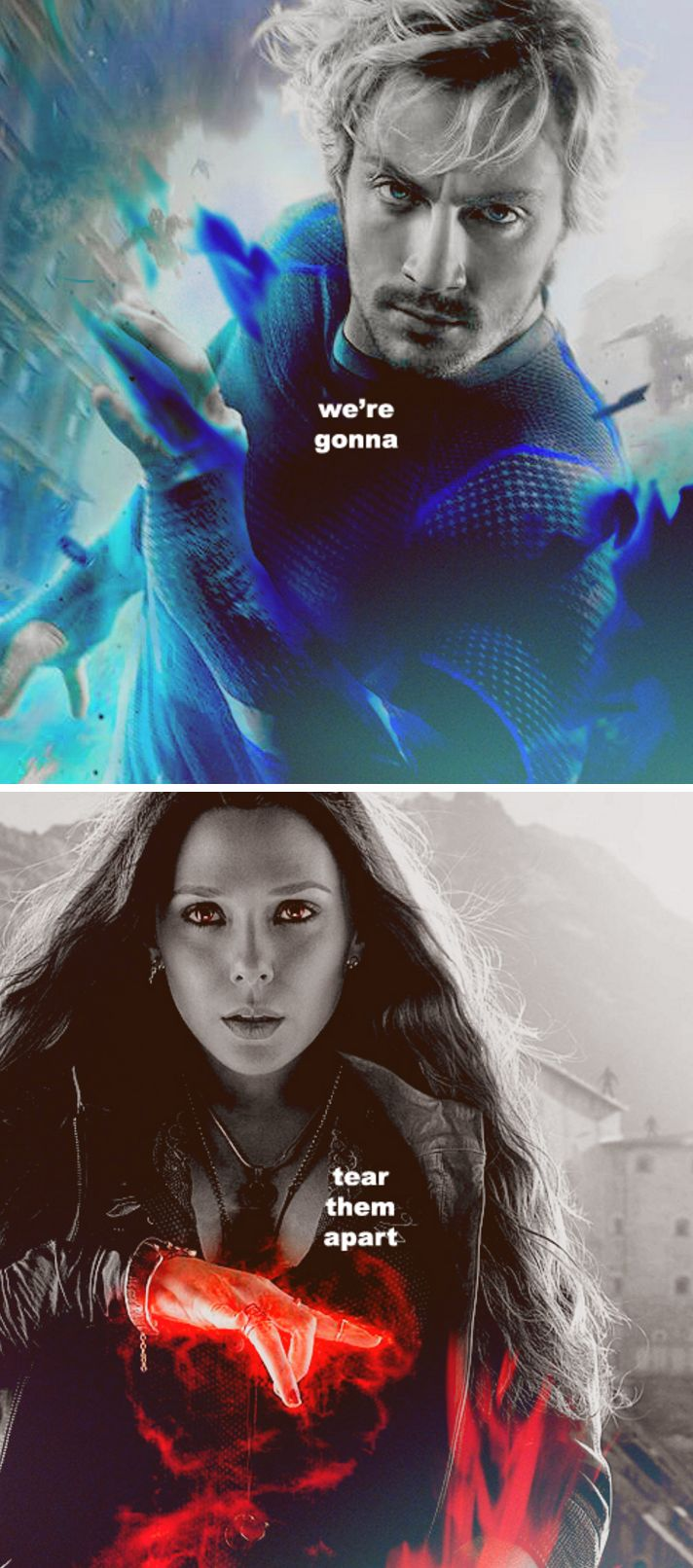 Careful the thoughts you respond to.  (Quicksilver- speed- mind-knowledge) Scarlet witch (power over the mind, emotional intensity)
