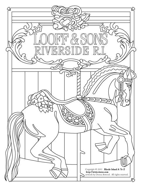Carousel Horse Coloring Pages | SEE THE COLORING IMAGE (97K JPG)
