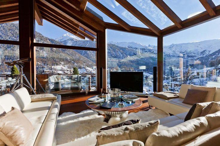 Chalet Zermatt Peak Zermatt living room with sofas and views