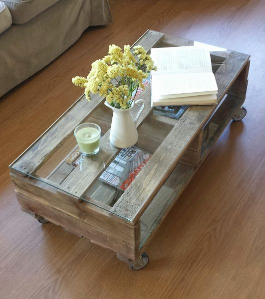 Mesa con palets y un poco de inspiraci n taules palets - Mesa centro palet ...