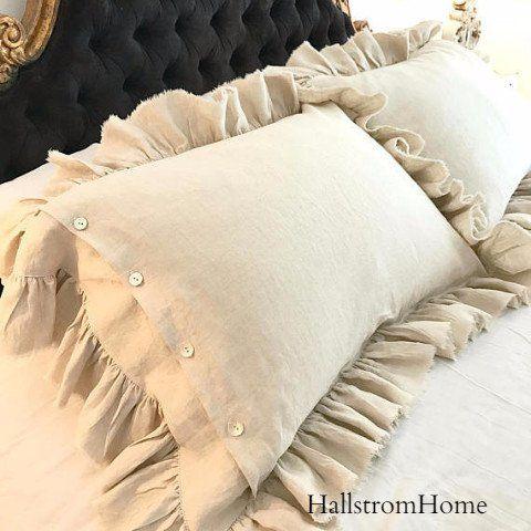 natural linen pillow shams ruffled bedding