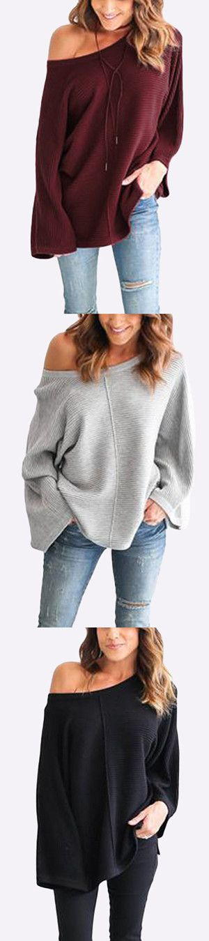 Casual Knitted Loose Round Neck Top